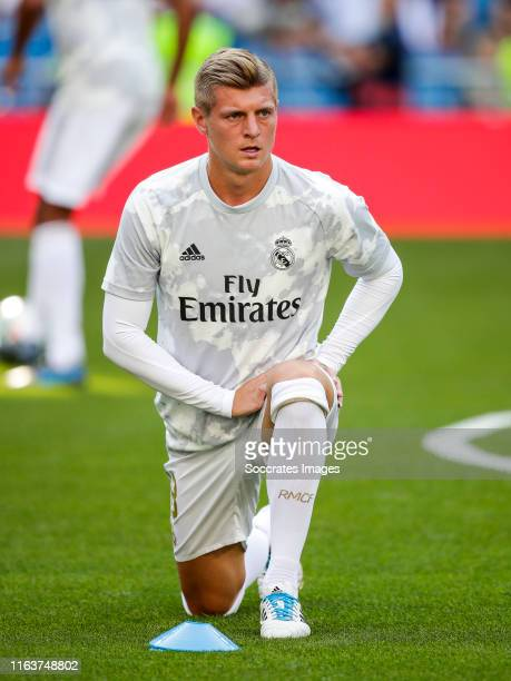 Toni Kroos of Real Madrid during the La Liga Santander match between Real Madrid v Real Valladolid at the Santiago Bernabeu on August 24 2019 in...