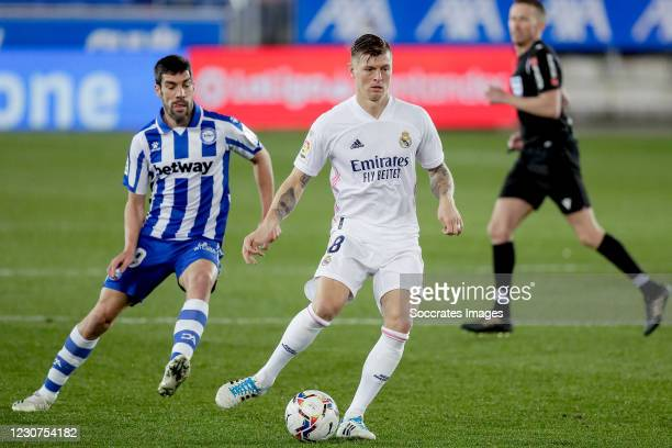 Toni Kroos of Real Madrid during the La Liga Santander match between Deportivo Alaves v Real Madrid at the Estadio de Mendizorroza on January 23,...