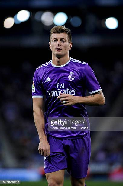 Toni Kroos of Real Madrid during the Spanish League match between RCD Espanyol vs Real Madrid CF at Cornella el Prat Stadium on September 18 2016 in...