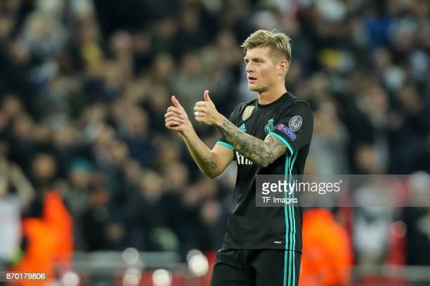 Toni Kroos of Real Madrid gestures during the UEFA Champions League group H match between Tottenham Hotspur and Real Madrid at Wembley Stadium on...