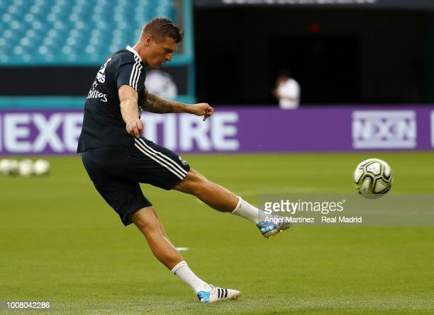 Toni Kroos of Real Madrid in action during a training session at Hard Rock Stadium on July 30 2018 in Miami Florida