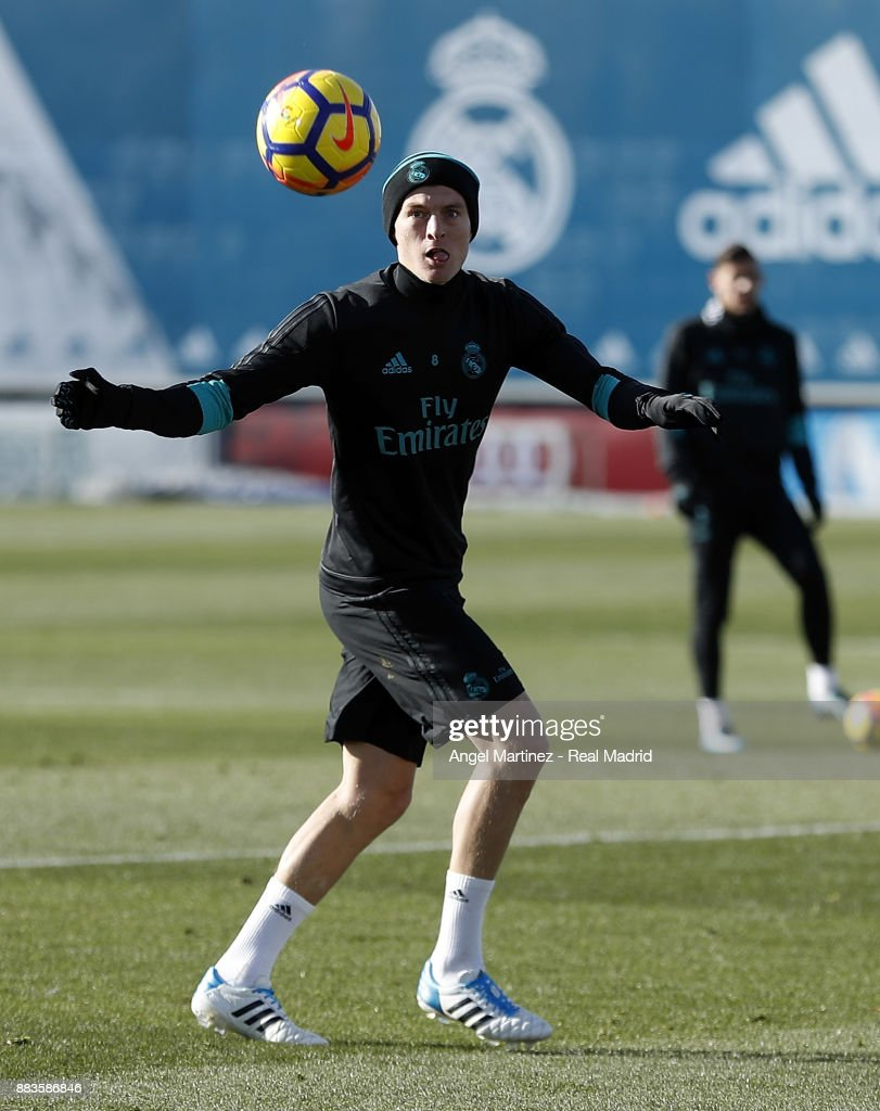 Toni Kroos of Real Madrid in action during a training session at Valdebebas training ground on December 1, 2017 in Madrid, Spain.