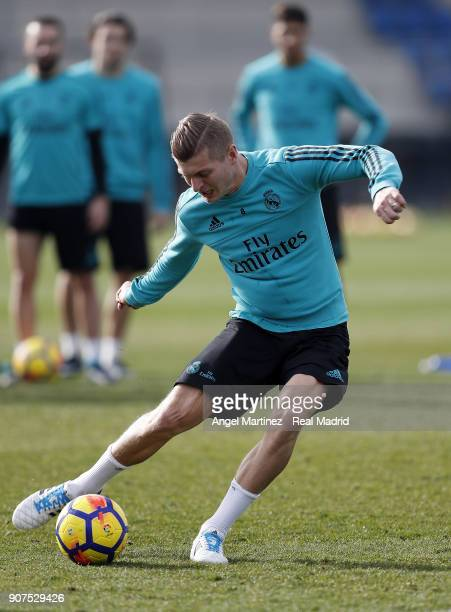 Toni Kroos of Real Madrid in action during a training session at Valdebebas training ground on January 20 2018 in Madrid Spain