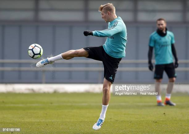 Toni Kroos of Real Madrid in action during a training session at Valdebebas training ground on February 9 2018 in Madrid Spain