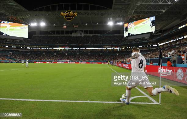 Toni Kroos of Real Madrid in action during the International Champions Cup 2018 match between Manchester United and Real Madrid at Hard Rock Stadium...