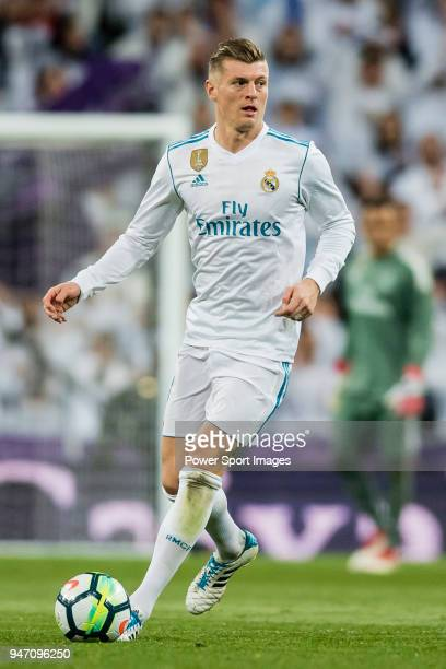 Toni Kroos of Real Madrid in action during the La Liga 201718 match between Real Madrid and Girona FC at Estadio Santiago Bernabéu on March 18 2018...