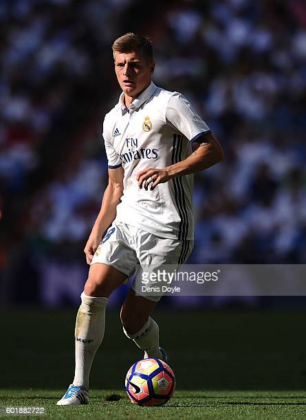 Toni Kroos of Real Madrid in action during the La Liga match between Real Madrid CF and CA Osasuna at Estadio Santiago Bernabeu on September 10 2016...