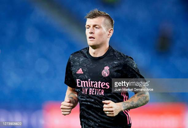 Toni Kroos of Real Madrid in action during the La Liga Santander match between Real Sociedad and Real Madrid at Estadio Anoeta on September 20 2020...