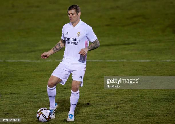 Toni Kroos of Real Madrid in action during the round of 32 the Copa del Rey match between CD Alcoyano and Real Madrid at Campo Municipal de El Collao...