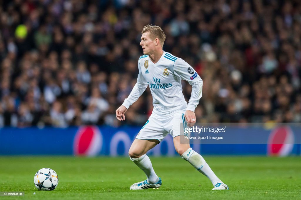 Toni Kroos of Real Madrid in action during the UEFA Champions League 2017-18 Round of 16 (1st leg) match between Real Madrid vs Paris Saint Germain at Estadio Santiago Bernabeu on February 14 2018 in Madrid, Spain.