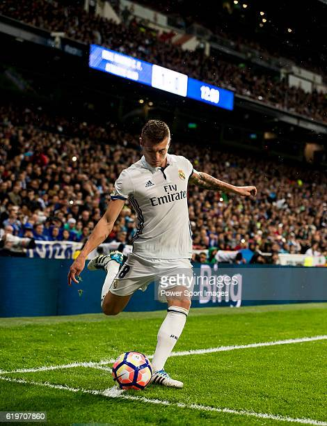 Toni Kroos of Real Madrid in action during their La Liga match between Real Madrid and Athletic Club at the Santiago Bernabeu Stadium on 23 October...