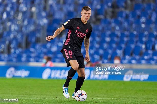 Toni Kroos of Real Madrid looks on during the La Liga Santader match between Real Sociedad and Real Madrid at Estadio Anoeta on September 20 2020 in...