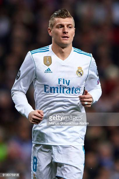 Toni Kroos of Real Madrid looks on during the UEFA Champions League Round of 16 First Leg match between Real Madrid and Paris SaintGermain at...