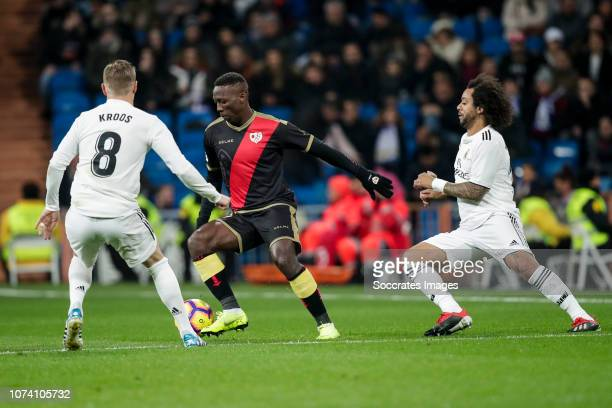 Toni Kroos of Real Madrid Luis Advincula of Rayo Vallecano Marcelo of Real Madrid during the La Liga Santander match between Real Madrid v Rayo...