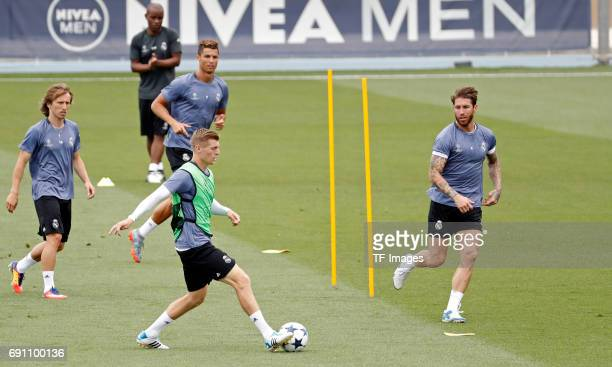Toni Kroos of Real Madrid Luka Modric of Real Madrid Cristiano Ronaldo of Real Madrid and Sergio Ramos of Real Madrid in action during training at...