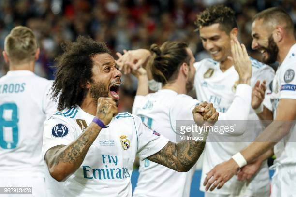 Toni Kroos of Real Madrid Marcelo of Real Madrid Gareth Bale of Real Madrid Cristiano Ronaldo of Real Madrid Karim Benzema of Real Madrid during the...
