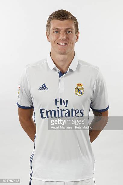 Toni Kroos of Real Madrid poses during a portrait session at Valdebebas training ground on August 18 2016 in Madrid Spain