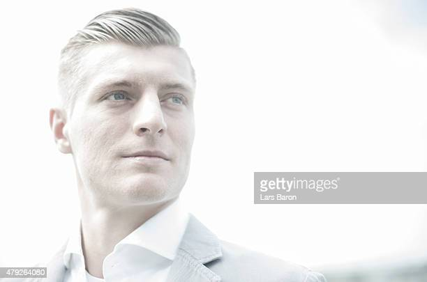 Toni Kroos of Real Madrid poses for a picture during a photocall at Real Madrid training center on April 12 2015 in Madrid Spain