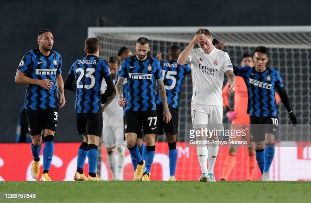 Toni Kroos of Real Madrid reacts after Inter score their second goal during the UEFA Champions League Group B stage match between Real Madrid and FC...