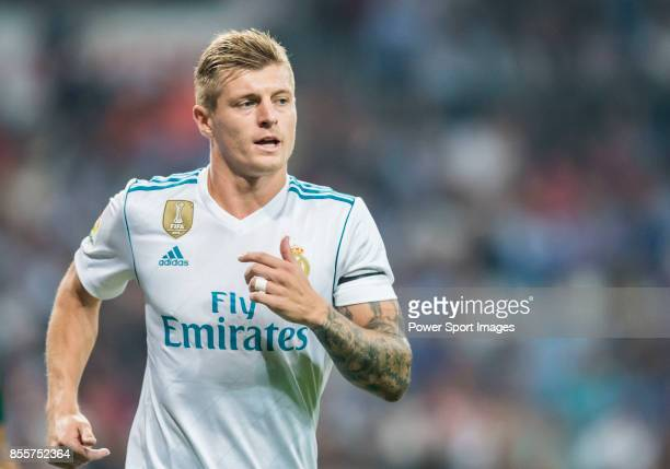 Toni Kroos of Real Madrid reacts during the La Liga 201718 match between Real Madrid and Real Betis at Estadio Santiago Bernabeu on 20 September 2017...