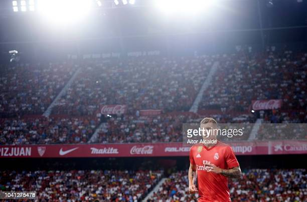 Toni Kroos of Real Madrid reacts during the La Liga match between Sevilla FC and Real Madrid CF at Estadio Ramon Sanchez Pizjuan on September 26 2018...