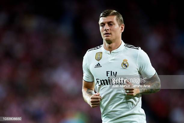 Toni Kroos of Real Madrid reacts during the La Liga match between Athletic Club Bilbao and Real Madrid at San Mames Stadium on September 15 2018 in...