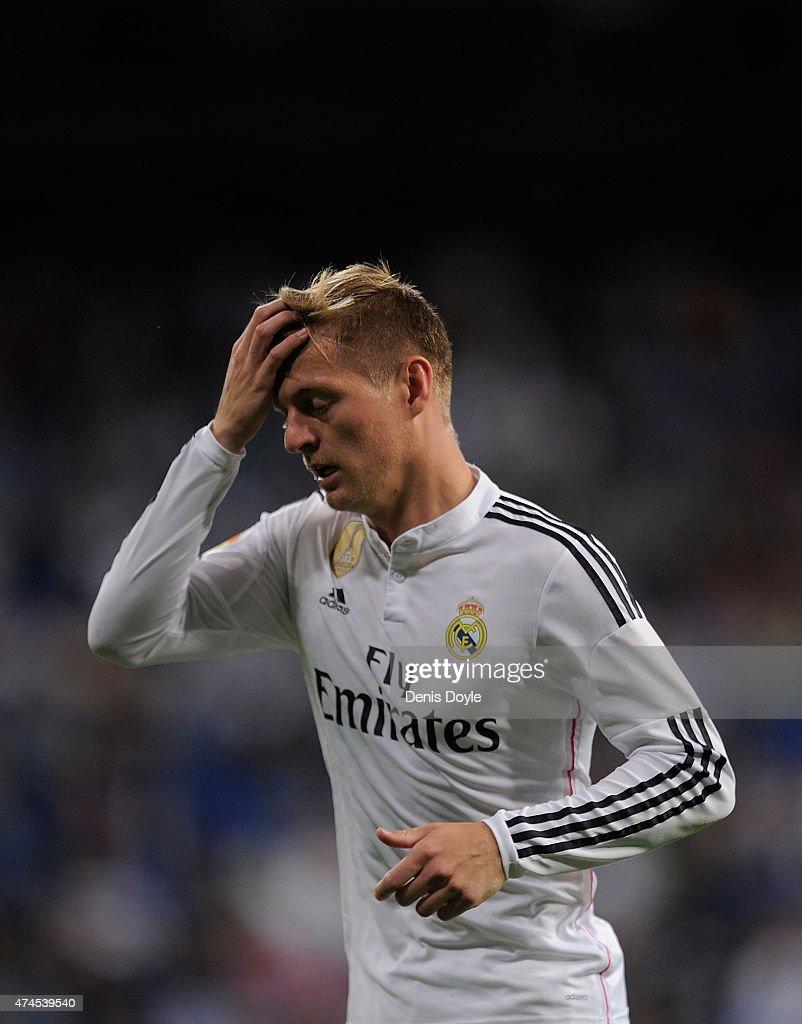 Toni Kroos of Real Madrid reacts during the La Liga match between Real Madrid CF and Getafe CF at Estadio Santiago Bernabeu on May 23, 2015 in Madrid, Spain.