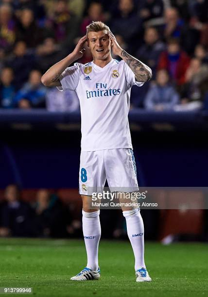 Toni Kroos of Real Madrid reacts during the La Liga match between Levante and Real Madrid at Ciutat de Valencia on February 3 2018 in Valencia Spain