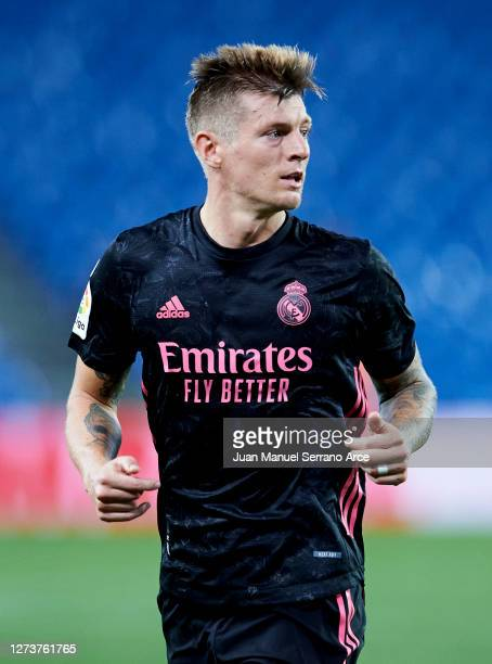 Toni Kroos of Real Madrid reacts during the La Liga Santander match between Real Sociedad and Real Madrid at Estadio Anoeta on September 20 2020 in...