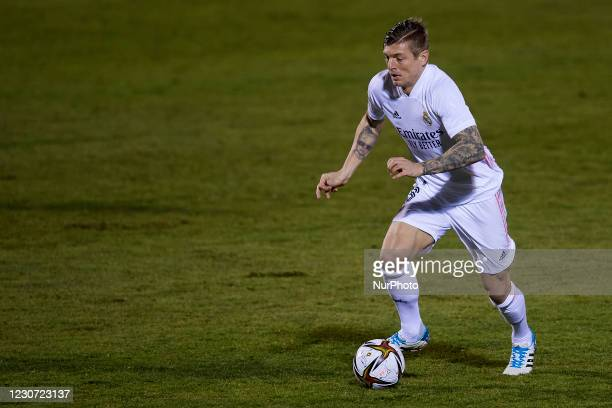 Toni Kroos of Real Madrid runs with the ball during the round of 32 the Copa del Rey match between CD Alcoyano and Real Madrid at Campo Municipal de...