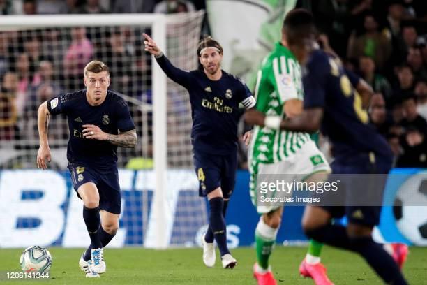 Toni Kroos of Real Madrid Sergio Ramos of Real Madrid during the La Liga Santander match between Real Betis Sevilla v Real Madrid at the Estadio...