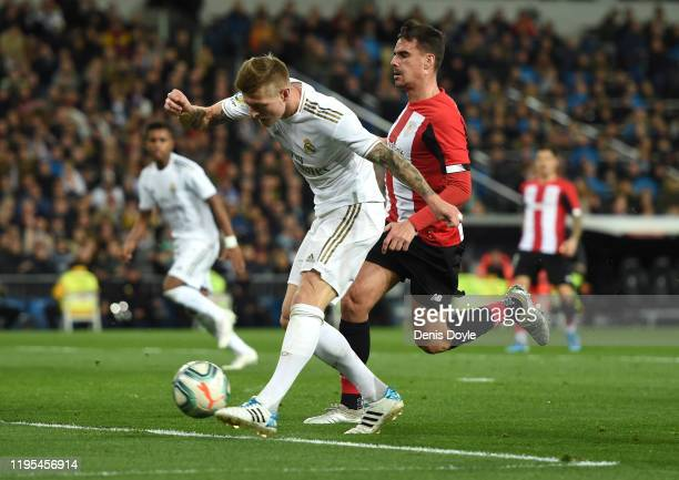 Toni Kroos of Real Madrid shoots during the Liga match between Real Madrid CF and Athletic Club at Estadio Santiago Bernabeu on December 22 2019 in...
