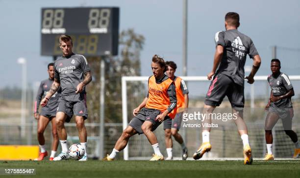 Toni Kroos of Real Madrid trains during the Real Madrid training session at Valdebebas training ground on September 23 2020 in Madrid Spain
