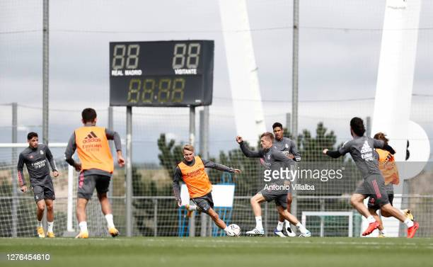 Toni Kroos of Real Madrid trains during the Real Madrid training session at Valdebebas training ground on September 24 2020 in Madrid Spain