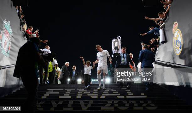 Toni Kroos of Real Madrid walks down the tunnel following his sides victory in the UEFA Champions League Final between Real Madrid and Liverpool at...
