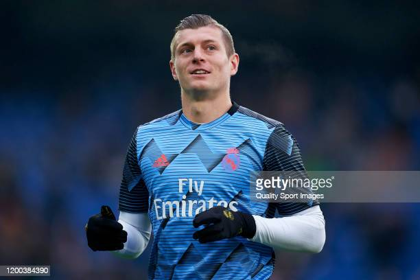 Toni Kroos of Real Madrid warms up prior to the Liga match between Real Madrid CF and Sevilla FC at Estadio Santiago Bernabeu on January 18 2020 in...
