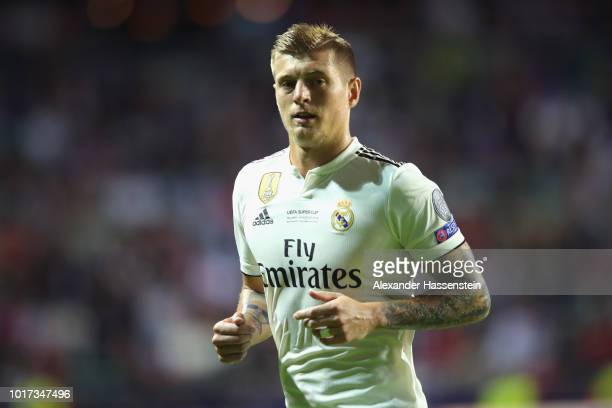 Toni Kroos of Real runs during the UEFA Super Cup between Real Madrid and Atletico Madrid at Lillekula Stadium on August 15 2018 in Tallinn Estonia