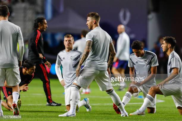 Toni Kroos Sergio Ramos Raphael Varane and Marco Asensio of Real Madrid during the warmup ahead of the UEFA Super Cup match between Real Madrid and...
