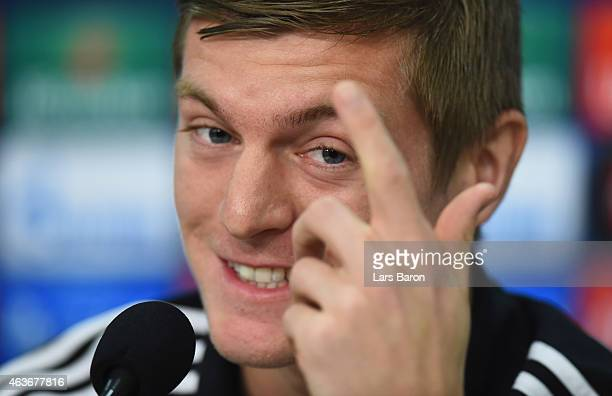 Toni Kroos smiles during a Real Madrid press conference ahead of their UEFA Champions League match against FC Schalke 04 at Veltins Arena on February...