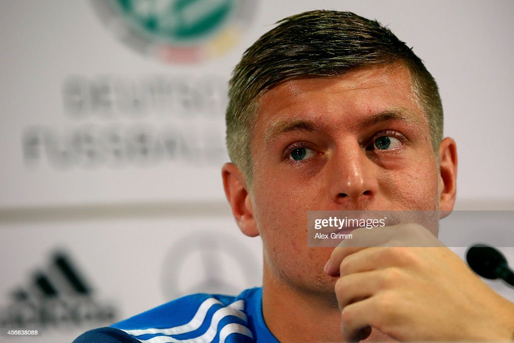 Toni Kroos talks to the media during a press conference at Commerzbank Arena on October 8, 2014 in Frankfurt am Main, Germany.