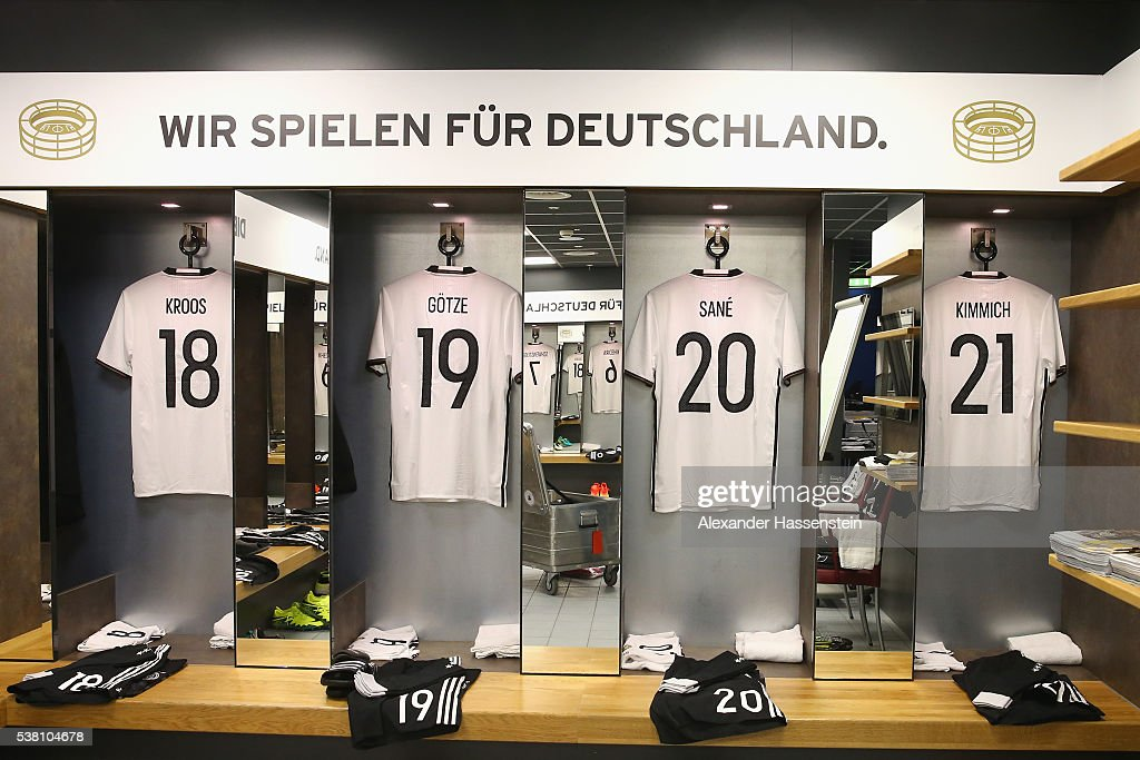 Toni Kroos`s , Mario Goetze`s, Leroy Sane`s and Joshua Kimmich`s match jerseys seen at the dressing room of team Germany prior to the international friendly match between Germany and Hungary at Veltins-Arena on June 4, 2016 in Gelsenkirchen, Germany.