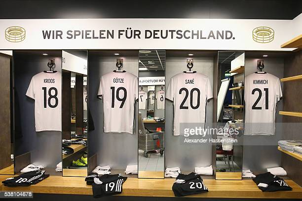 Toni Kroos`s Mario Goetze`s Leroy Sane`s and Joshua Kimmich`s match jerseys seen at the dressing room of team Germany prior to the international...