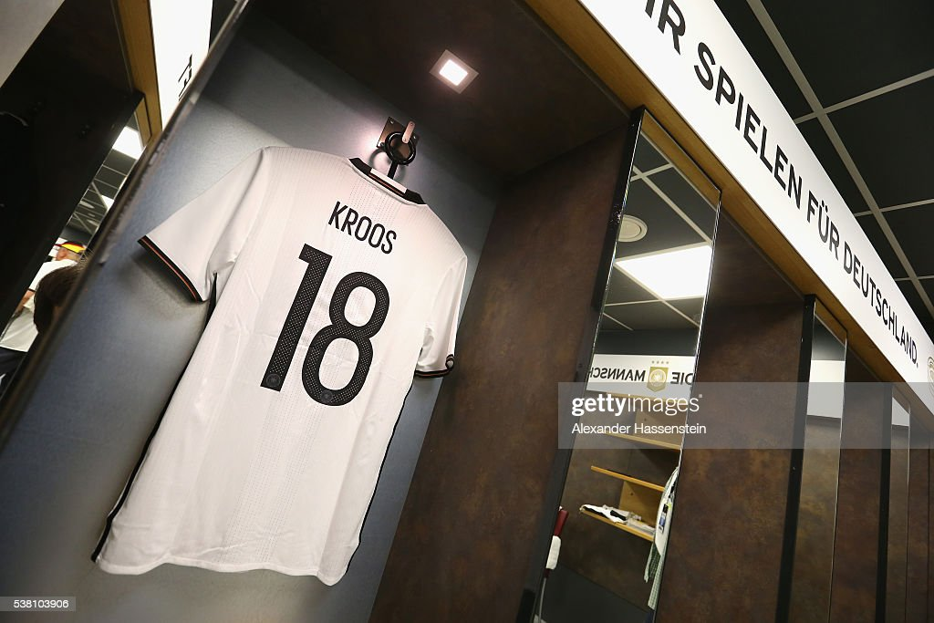 Toni Kroos`s match jersey is seen at the dressing room of team Germany prior to the international friendly match between Germany and Hungary at Veltins-Arena on June 4, 2016 in Gelsenkirchen, Germany.
