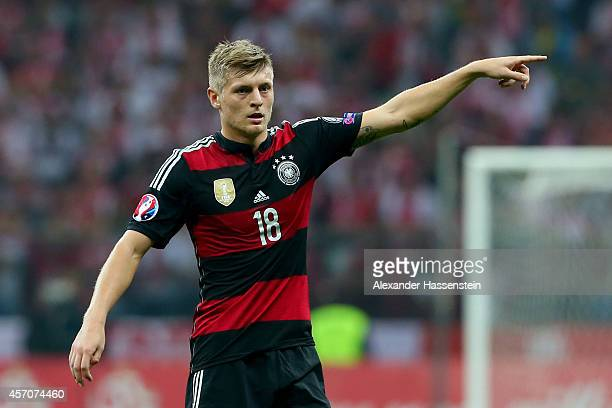 Toni Kross of Germany reacts during of the EURO 2016 Group D qualifying match between Poland and Germany at Narodowy Stadium on October 11 2014 in...