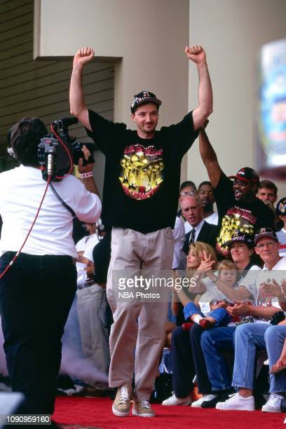 Toni Kukoc of the Chicago Bulls celebrates at the Chicago Bulls Championship Parade and Rally on June 16 1997 at Grant Park in Chicago Illinois NOTE...