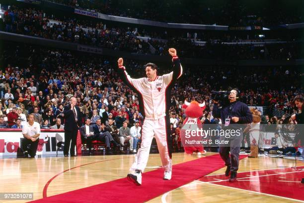 Toni Kukoc of the Chicago Bulls celebrates during a game played on November 1 1997 at the First Union Arena in Philadelphia Pennsylvania NOTE TO USER...
