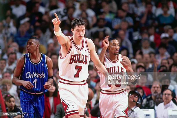 Toni Kukoc of the Chicago Bulls jogs up court during a 1996 NBA game against the Orlando Magic at the United Center in Chicago Illinois NOTE TO USER...