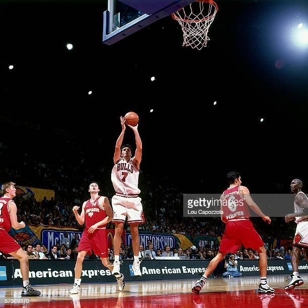 Toni Kukoc of the Chicago Bulls shoots a jump shot against Olympiakos during the 1997 McDonalds Championships played at the Palais Omnisports de...