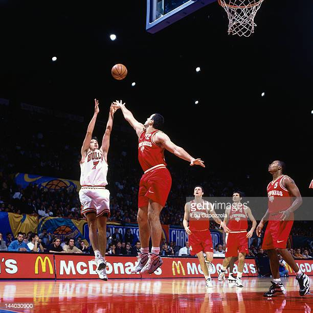 Toni Kukoc of the Chicago Bulls shoots against Olympiacos as part of the 1997 McDonald's Championships on October 18 1997 at the Palais Omnisports de...