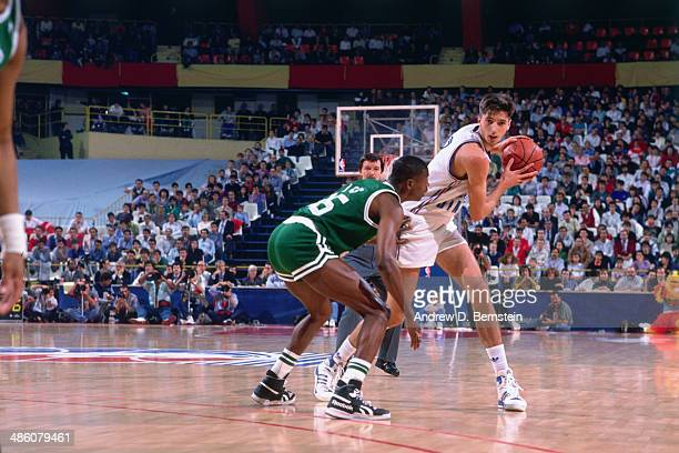 Toni Kukoc of Yugoslavia drives against the Boston Celtics during the 1988 McDonald's Championships on October 21, 1988 at the Palacio de los...